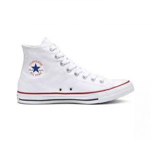 נעלי סניקרס קונברס לנוער Converse Chuck Taylor High Top - לבן הדפס