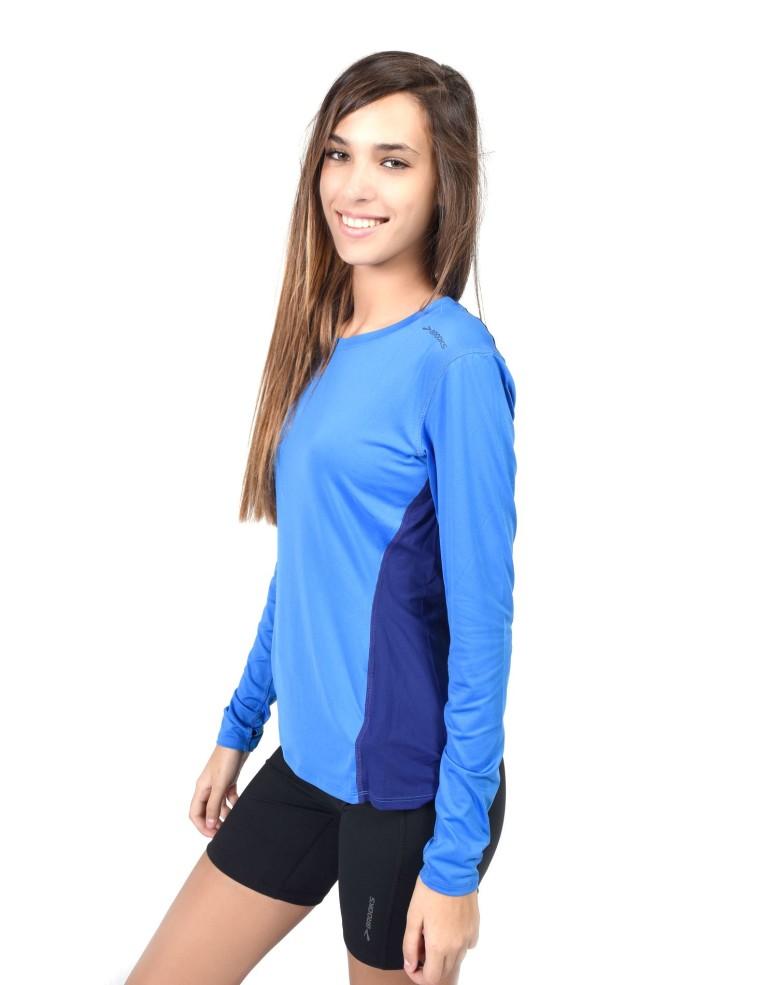 מוצרי ברוקס לנשים Brooks Steady Long Sleeve - כחול/תכלת