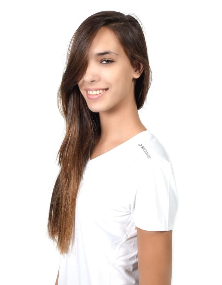 מוצרי ברוקס לנשים Brooks Steady Short Sleeve - לבן