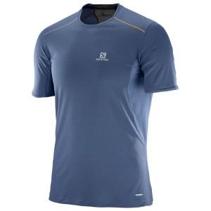 ביגוד סלומון לגברים Salomon Trail Runner SS - כחול כהה