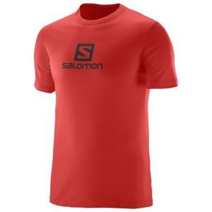 מוצרי סלומון לגברים Salomon Coton Logo SS TEE - אדום