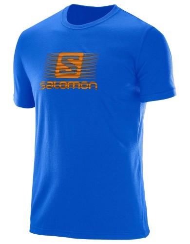 ביגוד סלומון לגברים Salomon Blend Logo SS TEE - כחול/כתום