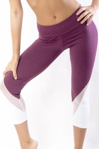 מוצרי ריו גים לנשים Rio Gym  Billie Capri - Bordeaux - לבן/סגול