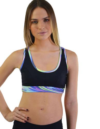 ביגוד ריו גים לנשים Rio Gym Sports Bra - צבעוני/שחור