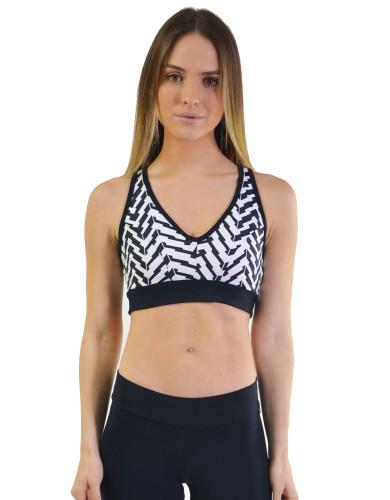 ביגוד ריו גים לנשים Rio Gym Sports Bra - שחור/לבן