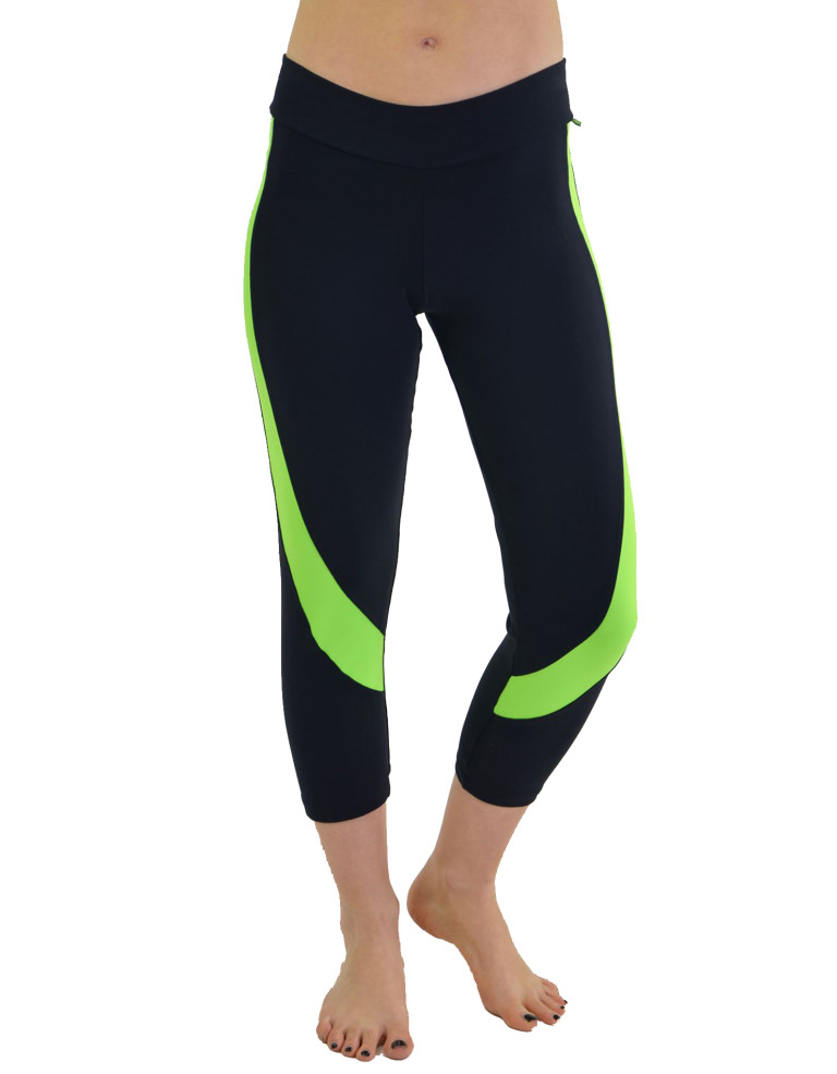 מוצרי ריו גים לנשים Rio Gym Capri - שחור/ירוק