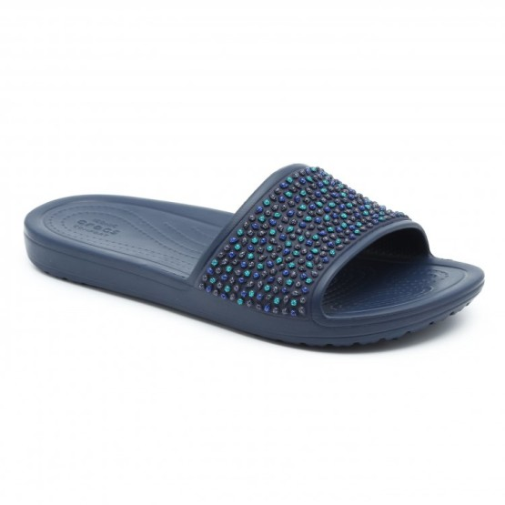 מוצרי Crocs לנשים Crocs Sloane Embellished Slide - כחול