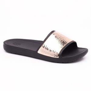 מוצרי Crocs לנשים Crocs Sloane Hammered Met Slide - שחור