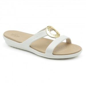 מוצרי Crocs לנשים Crocs Sanrah Hammered Met Sandal - לבן