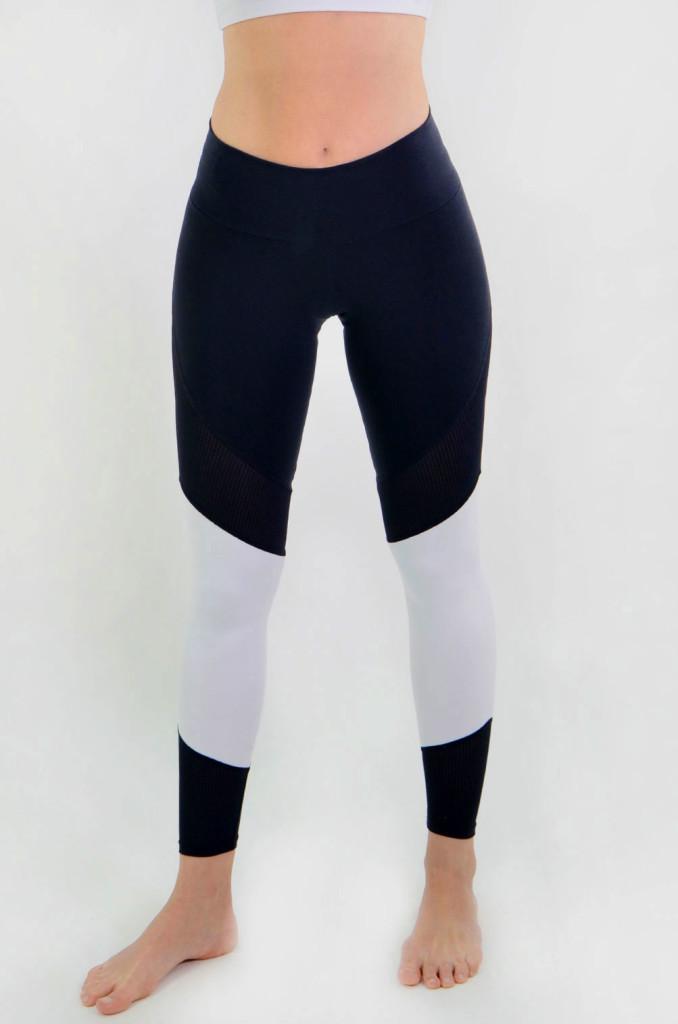 מוצרי ריו גים לנשים Rio Gym Tania Legging - שחור/לבן