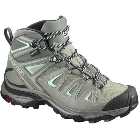 נעלי טיולים סלומון לנשים Salomon X Ultra 3 Mid GTX - אפור בהיר
