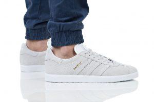 נעלי סניקרס אדידס לגברים Adidas Originals GAZELLE - אפור בהיר