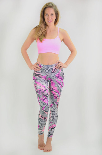 מוצרי ריו גים לנשים Rio Gym Carolina Legging - שחור/ורוד