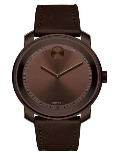 מוצרי מובאדו לגברים Movado Bold Swiss Brown Leather Strap - חום