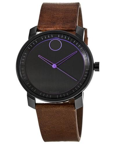 מוצרי מובאדו לגברים Movado Bold Black Dial Brown Leather - חום/שחור