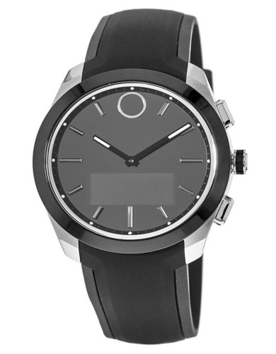 מוצרי מובאדו לגברים Movado Bold Connected Smartwatch Black Silicone Strap - שחור/כסף