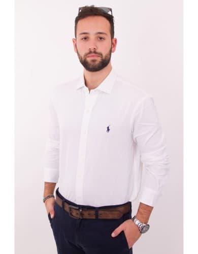 ביגוד פולו ראלף לורן לגברים Polo Ralph Lauren Button Down shirt Slim Fit Easy Care - לבן