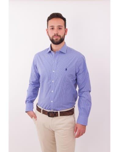 חולצות אופנה פולו ראלף לורן לגברים Polo Ralph Lauren Button Down shirt slim fit easy care - כחול/לבן