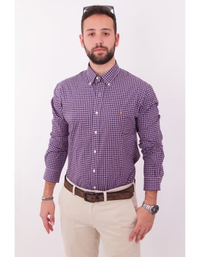 חולצות אופנה פולו ראלף לורן לגברים Polo Ralph Lauren Button Down shirt slim fit - לבן/אדום