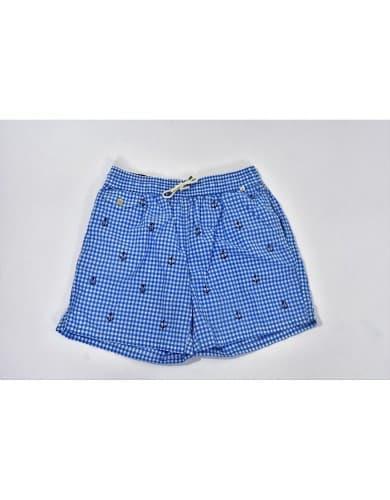 בגדי ים פולו ראלף לורן לגברים Polo Ralph Lauren Polo Swim Shorts - כחול/לבן