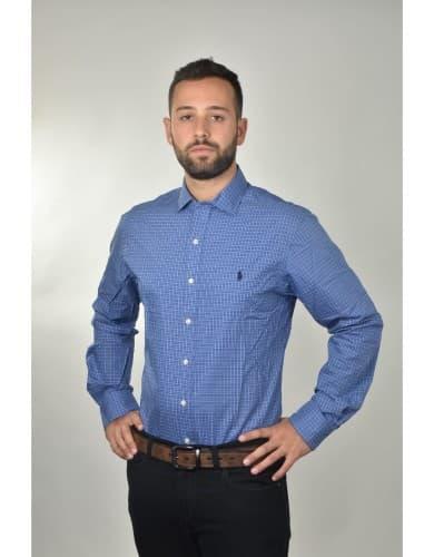 ביגוד פולו ראלף לורן לגברים Polo Ralph Lauren Button Down shirt Slim Fit Easy Care - כחול/לבן