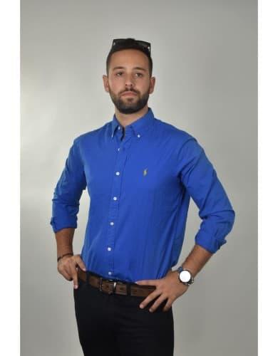 ביגוד פולו ראלף לורן לגברים Polo Ralph Lauren Button Down shirt classic fit - כחול