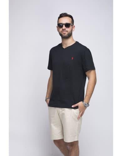 חולצות אופנה פולו ראלף לורן לגברים Polo Ralph Lauren V Neck T Shirt - שחור