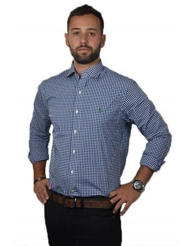 חולצות אופנה פולו ראלף לורן לגברים Polo Ralph Lauren Button Down shirt slim fit stretch poplin - כחול/לבן