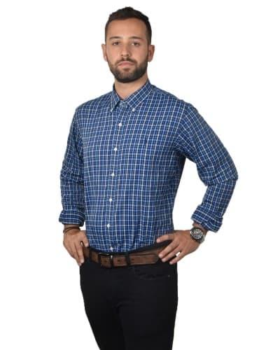 חולצות אופנה פולו ראלף לורן לגברים Polo Ralph Lauren Button Down shirt classic fit - כחול/לבן