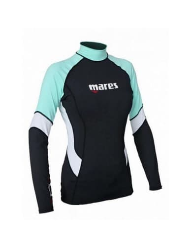 בגדי ים Mares Rash לנשים Mares Rash Guard She Dive - שחורטורקיז