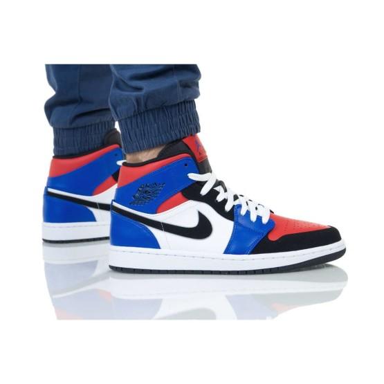 נעלי הליכה נייק לגברים Nike AIR JORDAN 1 MID - כחול/אדום