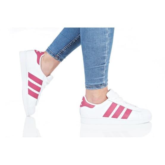 נעלי סניקרס אדידס לנשים Adidas Originals SUPERSTAR J - לבן/ורוד