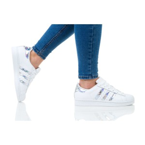 נעלי הליכה Adidas Originals לנשים Adidas Originals SUPERSTAR J - לבן נצנצים