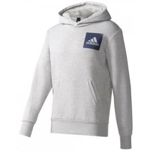 ביגוד אדידס לגברים Adidas Adidas Essentials Chest Logo Pullover Hood Fleece - אפור
