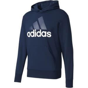 ביגוד אדידס לגברים Adidas Essentials Linear Pullover Hood French Terry - כחול כהה