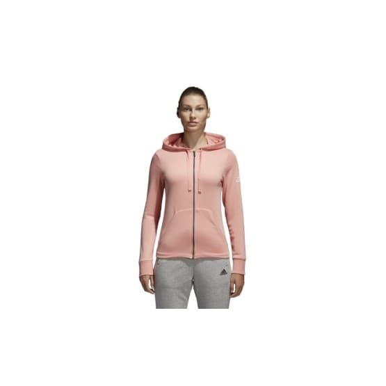 בגדי חורף אדידס לנשים Adidas Essentials Solid Fullzip Hoodie - ורוד