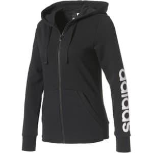 בגדי חורף אדידס לנשים Adidas Essentials Linear Full Zip Hoodie - שחור
