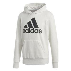 ביגוד אדידס לגברים Adidas Essentials Linear Pullover Hood French Terry - לבן