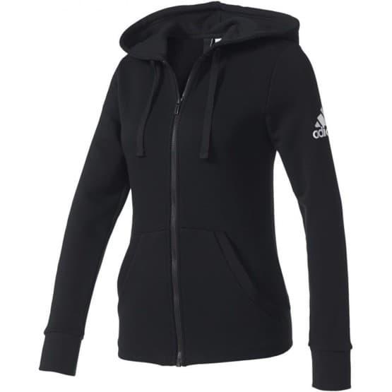 בגדי חורף אדידס לנשים Adidas Essentials Solid Fullzip Hoodie - שחור
