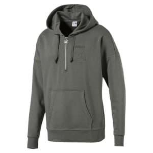 בגדי חורף פומה לגברים PUMA Archive Embossed Half Zip Hooded - אפור כהה