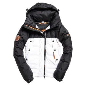 בגדי חורף סופרדרי לגברים Superdry Super Canadian Ski Down Puffer - שחור/לבן