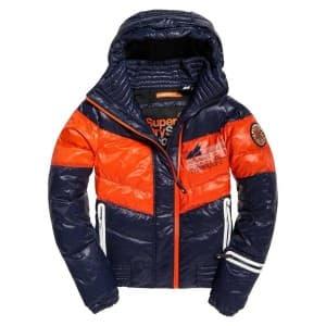 בגדי חורף סופרדרי לגברים Superdry Snow Terrain Down Puffer - כחול/כתום
