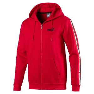 בגדי חורף פומה לגברים PUMA Tape Full Zip Hoody - אדום