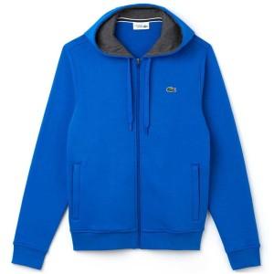 בגדי חורף לקוסט לגברים LACOSTE Hooded Zippered Sewatshirt Fleece - כחול