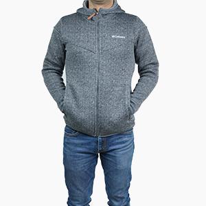בגדי חורף קולומביה לגברים Columbia Boubioz Hooded Full Zip - אפור כהה