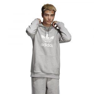 ביגוד Adidas Originals לגברים Adidas Originals Trefoil Hoodie - אפור בהיר