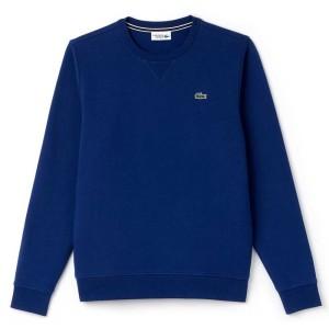 ביגוד לקוסט לגברים LACOSTE Crew Neck Sweatshirt Fleece - כחול