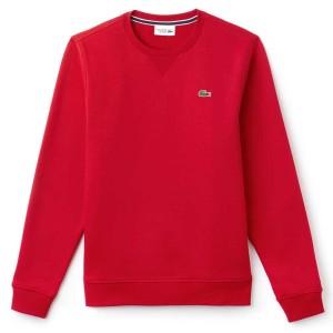 ביגוד לקוסט לגברים LACOSTE Crew Neck Sweatshirt Fleece - אדום