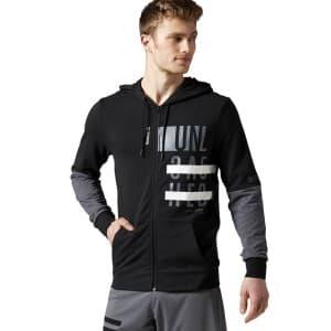 בגדי חורף ריבוק לגברים Reebok Workout Graphic Zip Hoodie - שחור