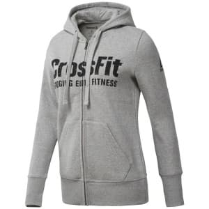 בגדי חורף ריבוק לנשים Reebok Rcf Full Zip Hoody - אפור
